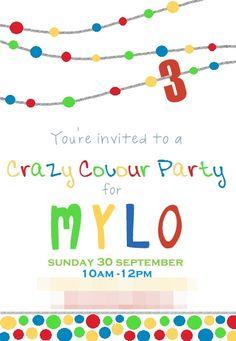 MNM's: Crazy Colour Party Invite