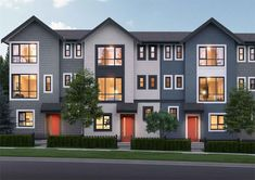 Hudson is a new townhouse development by Ikonik Homes in Surrey, BC. Townhouse Exterior, Modern Townhouse, Townhouse Designs, Building Exterior, Small House Design, Luxury Apartments, Apartment Design, Exterior Design, Modern Farmhouse