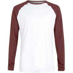 TOPMAN White/Burgundy Slub Raglan ($22) ❤ liked on Polyvore featuring men's fashion and men's clothing