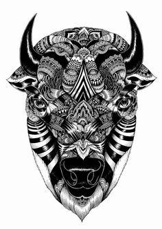 """Temporary Tattoo - 3.5"""" x 2.25"""" Bison #inspiration #temporarytattoo"""