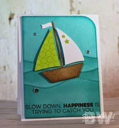 Nautical card with MFT sailboat die - nautisk maritimt kort med sejlbåd fra Dienamics My Favorite Things, hav bølger, ocean  #MFTStamp