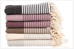 Add a pop of pattern and color to your bathroom with these handwoven Tunisian fouta towels,