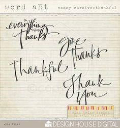 Goregeous Thanksgiving Digital Word Art freebie from Robyn Meierotto at Pink Trike Design