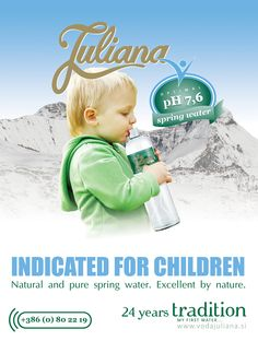 Natural spring water Juliana Natural Spring Water, Spring Nature, 24 Years, Bottle Design, Pure Products, Children, Kids, Child, Babys