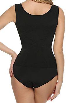 e3a50e799c Ekouaer Women s Mesh Steel Boned Waist Cincher Vest 6 Row Hooks Shapewear  at Amazon Women s Clothing store