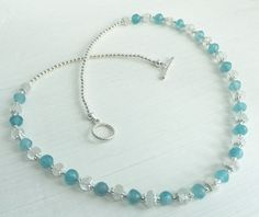 Necklace ~ ocean blue Agate, white Topaz, something blue for bride, holiday jewels, bridesmaid gift summer wedding, daughter prom jewelry