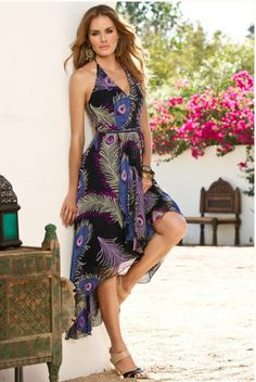 Boston Proper 9022HC - Peacock feather cascade dress $169.00
