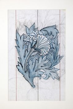 Tulip design, William Morris, pencil and ink on paper, design registered 15 April 1875, Catalogue Number BLA500 (From the William Morris Gallery website - www.wmgallery.org.uk)
