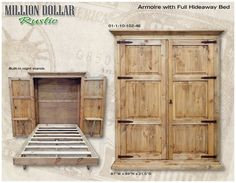 "Armoire with full size fold down hideaway bed. Unit also has fold down end tables. Mattress not included. Open dimensions are 117""W x 87""H x 84D. Made by Million Dollar Rustic"
