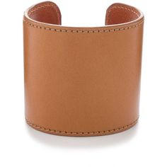 J. Crew tan leather and brass cuff