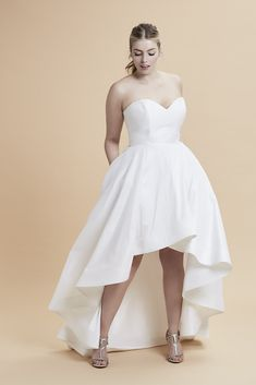"""The perfect gown for a second dress change at the wedding reception! Blue Willow Bride / Curve Couture - """"Ryland"""" - Fashion forward high low hem for the stylish bride to be. Dare to be different!"""