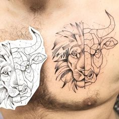 The half lion / half bull, half graphic / half geometric tattoo. - The half lion / half bull, half graphic / half geometric tattoo. Le Tattoo, Tattoo Homme, Taurus Bull Tattoos, Tattoo Grafik, Leo And Taurus, Taurus Constellation Tattoo, Nordic Tattoo, Tattoo Project, Best Friend Tattoos