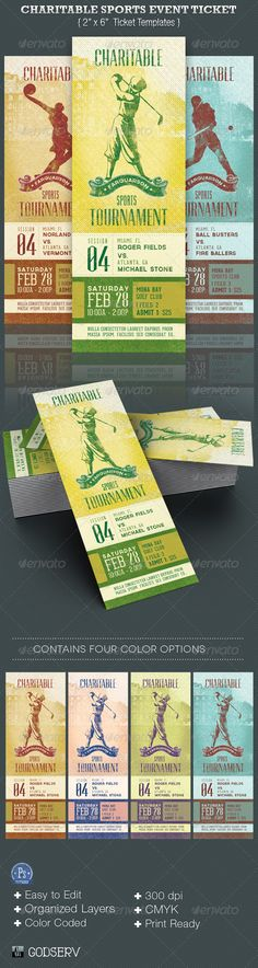 Buy Charitable Sports Event Ticket Template by Godserv on GraphicRiver. Charitable Sports Events Ticket Templates are for sports club, charity organization, school fundraisers and competit. Sporting Event Tickets, Event Ticket Template, Ticket Printing, Ticket Design, Charity Organizations, School Fundraisers, Boy Birthday Parties, Print Templates, Fundraising