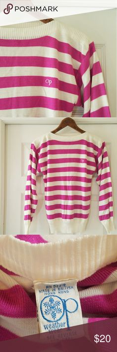 """Vintage 80s OP sweater Rasberry striped boatneck sweater from OP. EUC. Bust 18"""" waist 16"""" length 24"""". Please ask all questions before purchasing. Ocean Pacific Sweaters Crew & Scoop Necks"""
