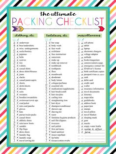 Free Printable Ultimate Packing Checklist | Perfect for travel packing | Three designs | Instant Downloads