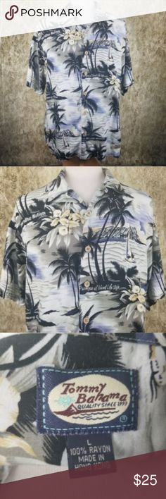 "Tommy Bahama SS Aloha Shirt (L) 100% Rayon Brand: Tommy Bahama  Condition: Pre-Owned.   Details: Men's SS Aloha Hawaiian Shirt, Loop Top Button  Material: 100% Rayon  Color: Black w/Green Hawaiian Tropical (See Pics)  Stated Size: L   Please Remember all Clothing Items may fit differently depending on Brand, Fit, or Use. We strongly urge our customers to check measurements first to guarantee proper fit.  Measurements  Chest: 24"" Length: 32"" Sleeve: 23"" Tommy Bahama Shirts Casual Button Down…"