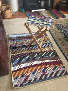 Upcycled Necktie Rug by Sew And Tell Quilts