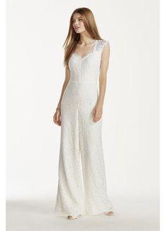 V-neck Lace Jumpsuit at David's Bridal