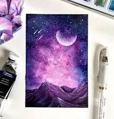 40 Detailed Miniature Painting Ideas – Bored Art – Welcome Galaxy Painting, Galaxy Art, Blue Painting, Night Sky Painting, Painting Inspiration, Art Inspo, Art Sketches, Art Drawings, Spray Paint Art