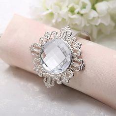 Brillant Acrylique Rond de serviette de diamant (plus de couleurs)