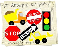 Construction Applique Pattern Bundle - 6 Applique Templates / Dump Truck Shirt / Baby Nursery Quilt / Cute Baby Clothes / Boy Wall Hanging by ScrapendipityDesigns, $9.00