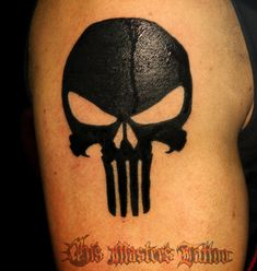 Punisher Skull on my right shoulder, pretty much exactly like this.