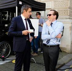 Rowan Atkinson and Ben Miller filming Johnny English Johnny English, Mr Bean, British Actors, Rowan, Suit Jacket, Celebrities, Films, Movies, Jackets