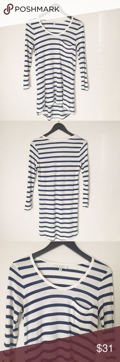 "CAbi Navy & White Stripe Tunic Top Navy Blue and White Striped Top from Cabi! Round scoop neck and left chest pocket. Hi-lo fit. Front 26"" long, back 30"" long, 17"" pit to pit, sleeves 13 1/2"" long. Good condition- minor wear/pilling. Size medium. 100% rayon. NO TRADES. CAbi Tops Tunics"