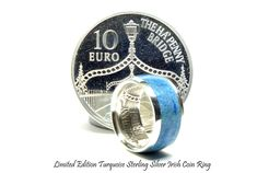Silver coin ring. Turquoise ring, December birthstone rings, limited edition Irish silver coin ring.