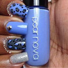 Blue and grey nail art