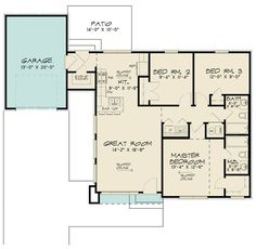 Contemporary Style House Plan - 3 Beds 2 Baths 1131 Sq/Ft Plan #923-166 - Houseplans.com Contemporary Style Homes, Contemporary House Plans, Modern House Plans, Contemporary Design, Plans Architecture, Floor Plan Drawing, Building Section, Best House Plans, Home Additions