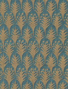 Fortuny Piumette in blue & gold Green And Gold, Blue Gold, Hawaiian Art, Fabric Rug, Textile Prints, Textiles, Small Trees, 15th Century, Soft Furnishings