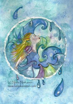 Water Element Fairy - ACEO Art Print - Water Fairy - Fantasy Art - Blue - Sea - Art by Niina Niskanen by fairychamber on Etsy Trading Card Sleeves, Watercolor Paintings, Original Paintings, Water Fairy, Artist Card, Water Element, Sea Art, Blue Art, Talent Management