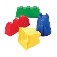 Children will enjoy playing with these sand castle molds. Each piece is made of super strong polyethylene in bright colors. No sharp corners.