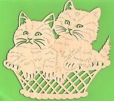 Fensterbild 2 Katzen im Korb - Katze/Tiere  - natur - Holz - Erzgebirge