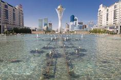 Fountains at Bayterek Tower, Astana, Kazakhstan, Central Asia