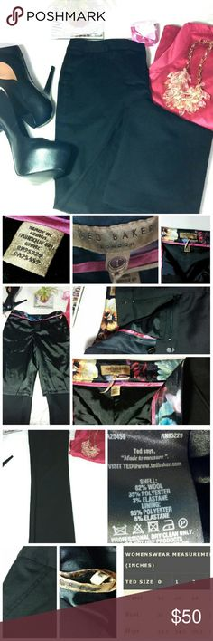 """Ted Baker Black Dress Trouser Pant *These Ted Baker trouser pants are so beautiful!  They are sleek, very professional and businesslike.  It is a size 1 which is equivalent to a size 4 US/ 26"""" waist (see size charts).  They have a 33"""" inseam, with a thin black ribbon along the sides.  There are 2 pockets, and 2 faux back pockets.  They are half lined inside.  There are marker marks on one of the hang loops (see pic).  These are in excellent condition.  They would be perfect for any…"""