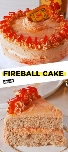 Fireball Cake - Ingredients Yields: 10 - 12 servings For the cake 1 box vanil. Fireball Cake – Ingredients Yields: 10 – 12 servings For the cake 1 box vanilla cake 1 tsp. Fireball Cake Recipe, Fireball Recipes, Fireball Cupcakes, Whiskey Recipes, Just Desserts, Dessert Recipes, Desserts With Alcohol, Alcoholic Desserts, Cupcake Recipes