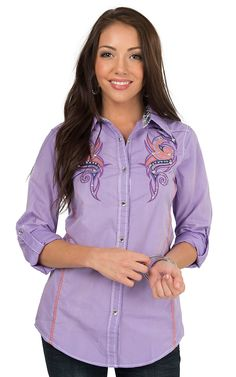 Wired Heart Women's Lavender with Tribal Embroidery Long to 3/4 Sleeve Western Shirt   Cavender's