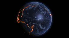 Über Kontinentalplatten nachzudenken, kann bei einer glaubwürdigen Geografie helfen. Wo die Platten auf der Erde aufeinandertreffen und was sich dort abspielt, hat das Datenvisualiserungs-Unternehmen 422 South eindrucksvoll animiert: In einem Video überziehen orangene Lichtexplosionen den Erdball – jeder Punkt steht dabei für ein Erdbeben aus den letzten 15 Jahren.  Bild:  (c) 422 South