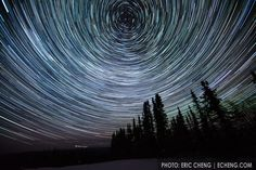 Star trails and norther lights just outside of Fairbanks, Alaska.  March 21, 2012.  Photo by Eric Cheng.  ECHENG.COM.....I need to try this with my camera on a good northern lights night!