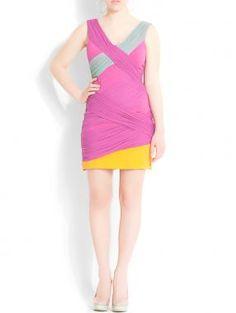 Lush  Mesh Color-Block Dress