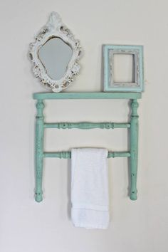 Chair Towel Rack Made Out Of A Antique Chair Legs With A Shelf Made From The
