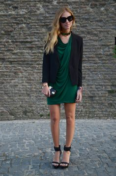 Chiara is wearing  BY MALENE BIRGER DRESS AND CHOKER NECKLACE  MANGO BLAZER  and WERELSE FOR MANGO TOUCH WEDGES