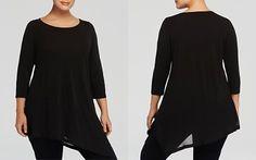 Eileen Fisher Plus Scoop Neck Asymmetric Silk Top