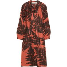 Stella McCartney Dorothy fern-print silk dress ($474) ❤ liked on Polyvore featuring dresses, loose sleeve dress, loose fit dress, print dress, brown print dress and mixed print dress