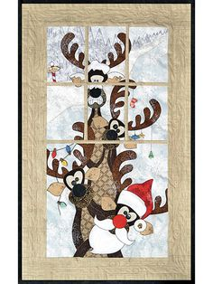 This silly quilt pattern will bring a smile to everyone's face when you put it on your wall this holiday season. It features 4 reindeer dressed up with lights in their antlers standing behind a faux window, which creates a unique dimensional quality....