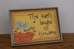 Spring Decor, Ralph Waldo Emerson Quote, Hand Painted Flower Decor, Vintage Picture Frame, Country Home Decor, Cottage Chic Picture Frame