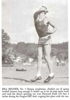 1941-42 UO football player and track athlete Bill Regner throws a discus in 1942.  From the 1942 Oregana (University of Oregon yearbook). www.CampusAttic.com