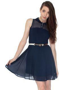 Chiffon Sleeveless Collared Dress